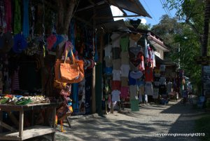 Local vendors of souvenirs and clothing