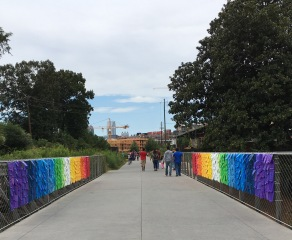 Rainbow walk. The colors were achieved with plastic plates and sheets of plastic